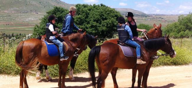 רכיבה בקיבוץ מלכיה – על הסוסים בין עצי תפוח וקיווי ומול משקפות החיזבאללה