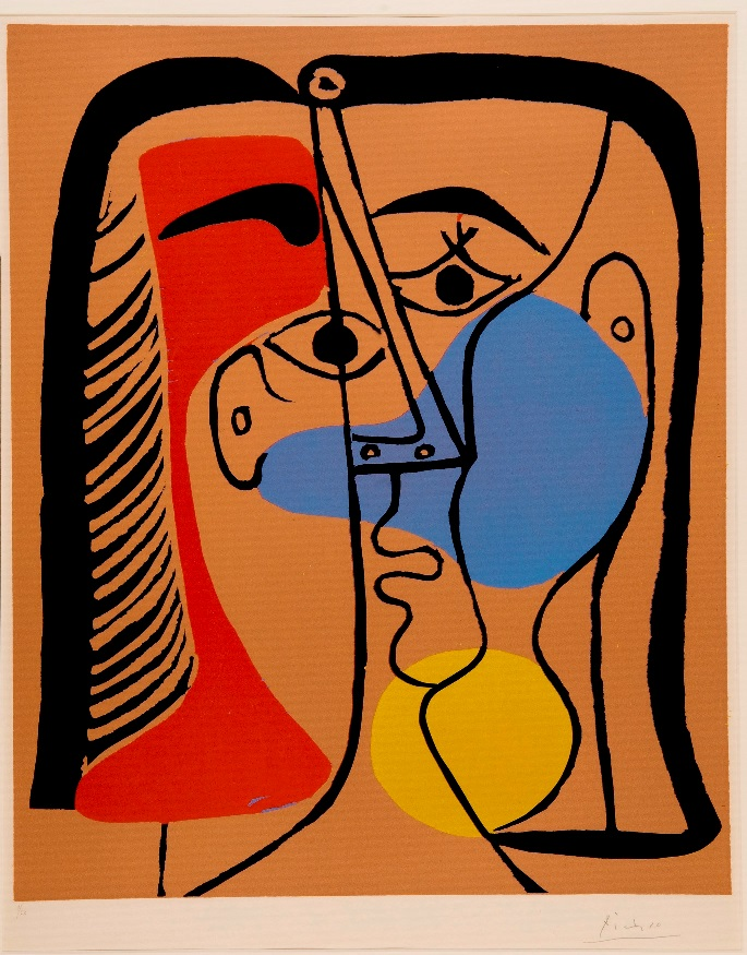 """""""ראש גדול"""" - פאבלו פיקסו. ציור המוצג במוזיאון ישראל."""