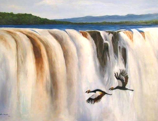 """עגורים - ציור: אופיר בוסקילה, במוזיאון בפארק הלאומי בר""""ג."""